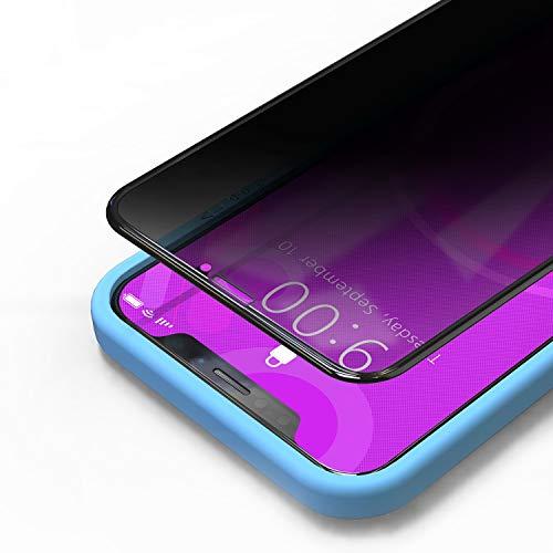 Bewahly Privacy Panzerglas Schutzfolie für iPhone 11 Pro Max/XS Max [2 Stück], 3D Full Screen Sichtschutz Panzerglasfolie Blickschutzfolie Bildschirmschutzfolie Anti-Spy Glas Folie mit Positionierhilfe