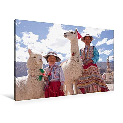 CALVENDO Premium Textil-Leinwand 90 cm x 60 cm quer Frau und Mädchen mit Lama und Alpaka | Wandbild, Bild auf Keilrahmen, Fertigbild auf echter Leinwand. Maca, Colca Canyon, Peru Orte Orte