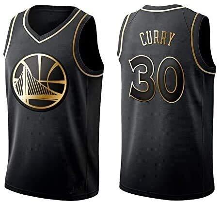 Dll Maglie Uomo - NBA Golden State Warriors # 30 Stephen Curry Mesh Jersey di Pallacanestro Swingman Edizione Unisex T-Shirt Senza (Color : Gold, Size : S (170cm/50-65kg))