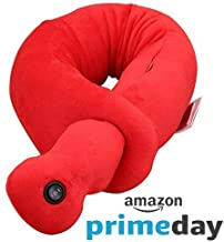 JVIN FAB Luxury Neck Massager Pillow for Shoulder & Neck Pain Relief Vibrating U-Shape Massage Pillow for Birthday Present Gift Office|Home|Car| Travel Pillow (Red)