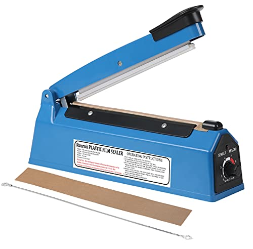 Impulse Heat Sealer 8 inch Impulse Bag Sealer Poly Bag Sealing Machine Heat Sealing Machine with Replacement Kit for Plastic Bags PE PP Bags