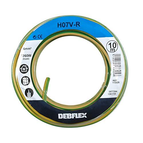 Bobinot de câble - Bobine de Fils électrique - Câble électrique - Couronne de câble - DEBFLEX - Bobinot câble rigide 10 mètres H07VR 6 mm ² - Jaune/Vert 113325
