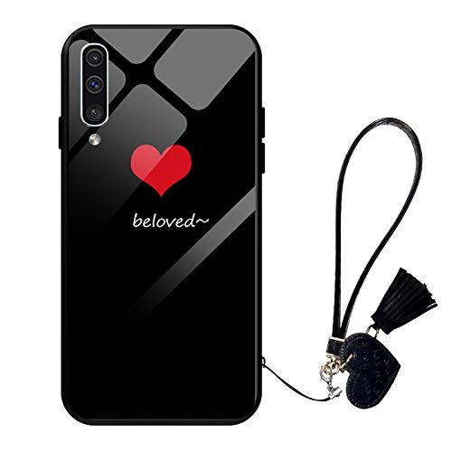 Suhctup Compatible con Samsung Galaxy J5 Prime Funda Vidrio Templado con Cordón Cuerda y Dibujos Diseño Carcasa TPU Cuadro Suave Bumper Anti-Choques Anti-Arañazos Cover,Amor 8