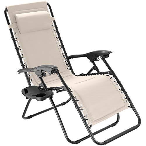 TecTake 800885 Chaise Longue Toile Tendue Pliable avec Rembourrage de Tête Amovible - Diverses Couleurs - (Beige)