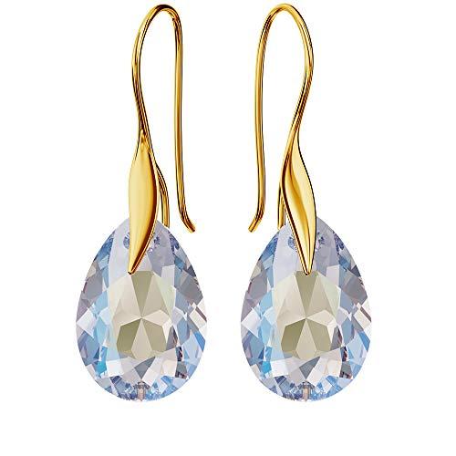 Pendientes de plata 925 chapada en oro de 24 quilates con cristales de Swarovski – pera – Crystal Shimmer – Gancho para mujer – Hermosa joya para mujer con caja de regalo