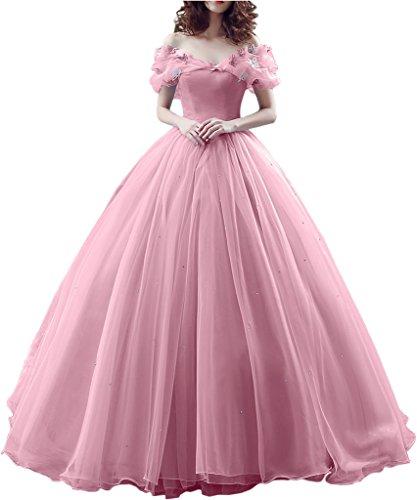 Promgirl House Damen 2017 Maerchenhaft Prinzessin A-Linie Ball Brautkleider Hochzeits Abendkleider Lang-40 Rosa