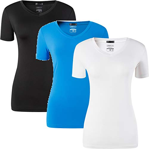 jeansian Femme 3 Packs Sport Slim Quick Dry Breathable Short Sleeve T-Shirt Tee Tops SWT240 PackA XL