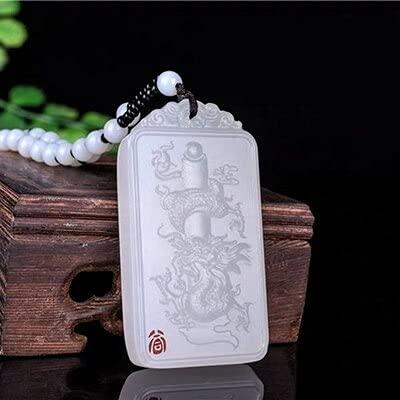 YANGYUE Joyería Natural Hetian Jade White Dragon Colgante Collar Joyería Exquisita