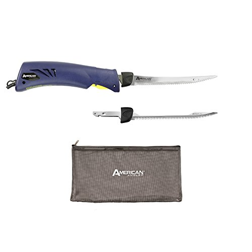 American Angler Classic Heavy Duty Electric Fillet Knife Precision Kit – 110 Volt High Performance Motorized Handset with 8-Inch Stainless Steel Curved Blade and Shark Blade, 31454DS