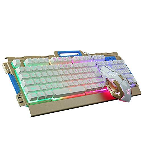 NCBH USB Esports Game Muis En Toetsenbord Set, Wired Metal Light Computer Toetsenbord En Muis voor Home PC Gamers & Office Typists Gebruik