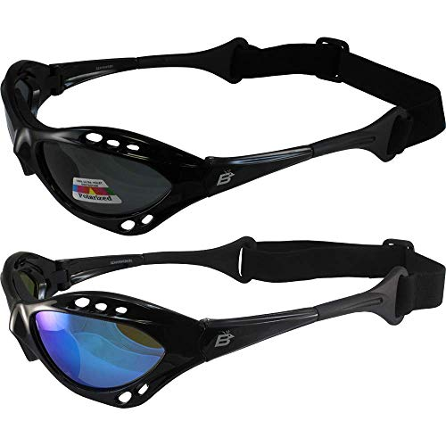 2 Pair Birdz Seahawk Polarized Sunglasses Floating Jet Ski Goggles Sport Kite-Boarding, Surfing, Kayaking,1 Black with Blue Lenses and 1 Black with Smoke Lenses