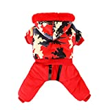 Lvguang Chaqueta de Invierno para Perros Pequeños con Diseño de Abrigo de Viento Chaqueta Ligera Cálida (Camuflaje Rojo, XL)