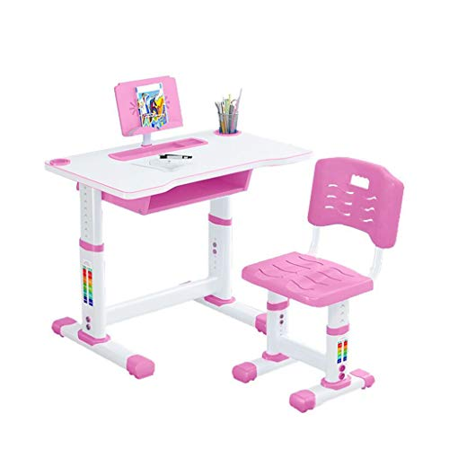 Children Desk, Height Adjustable Children Study Desk Chair and Table Set, Student Writing Desk for Studying, Reading and Drawing w/Pull Out Drawer Storage, Pencil Case, Bookstand (pink, A-70x46cm)