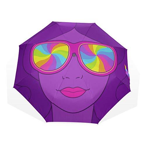 Travel Umbrella Hippie Woman In Glasses Cool Anti UV Compact 3 Fold Art Ligero Paraguas Plegables (impresión Exterior) Lluvia a Prueba de Viento Paraguas de protección Solar para Mujeres Niñas niños