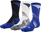 Under Armour Men's Elevated Novelty Crew Socks, 3-Pairs, Royal Assorted , Large