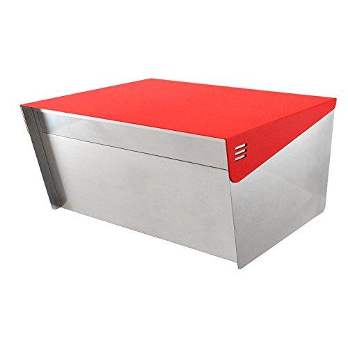 Katanabox Briefkasten mit Schloss und Schlüssel, Edelstahl, rostfrei, für modernes Haus, Wohnung, ländliche Straße, 30,5 x 38,1 x 20,3 cm rot