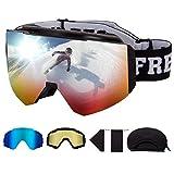 FREE SOLDIER OTG Gafas de Esqui para Hombres Y Mujeres Gafas de Snowboard con Diferentes Formas Y Lentes Magnéticos Desmontables (Rojo 19.2% VLT/ Azul14.2% VLT/Amarillo 82.5% VLT)