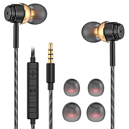 Auricolari,cuffie,auricolari in-ear,auricolare con microfono,Sistema Audio Surround,Headset Stereo 3.5 mm compatibile con Huawei,MP3,Android,PC e altro (Nero e oro)