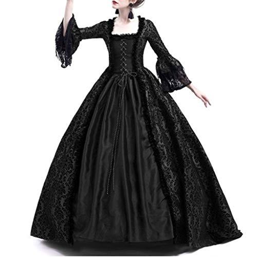 Lazzboy Frauen Retro Mittelalter Party Prinzessin Renaissance Cosplay Spitze Bodenlanges Kleid Langarm Viktorianischen Königin Kostüm Maxikleid(Schwarz,3XL)