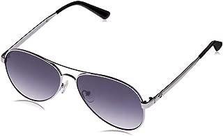 Guess Women's GU6910 GU6910 08B Aviator Sunglasses, Silver, 58 mm