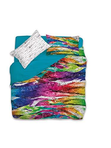 Gabel Colors Wall Completo Copripiumino 2 Piazze, Multicolore, 250 x 205 cm