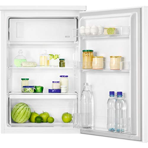 Zanussi ZEAN11EW0 Frigorífico de una puerta Mini, Libre instalación, 84 cm, Pantalla LCD, Compartimento Congelador 4 estrellas integrado, Descongelación Automática, Estantes cristal, Blanco