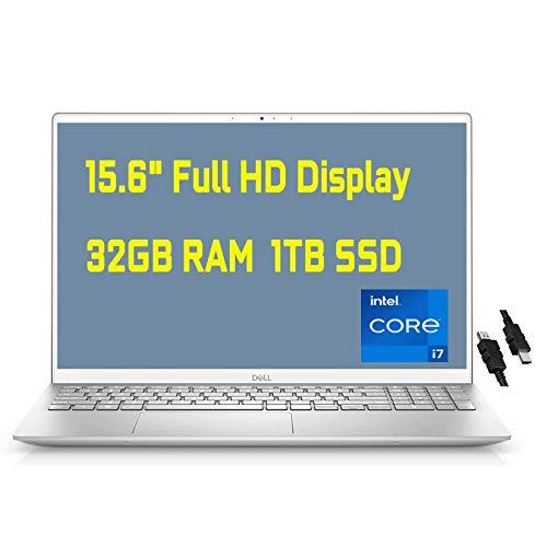 "2021 Flagship Dell Inspiron 15 5000 Laptop 15.6"" Full HD Display 11th Gen Intel Quad-Core i7-1165G7 32GB RAM 1TB SSD Backlit Keyboard USB-C HDMI MaxxAudio Win10 + iCarp HDMI Cable"