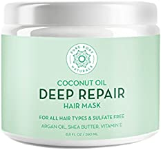 Coconut Oil Hair Mask, Deep Conditioning Hair Treatment for Dry Damaged and Color Treated Hair, Sulfate Free Hair Conditioner, Moisturizes, Repairs by Pure Body Naturals, 8.8 Fl. Oz (Label Varies)