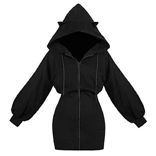 Damen Hoodie Kleid Pullover Langarm Sweatshirts Kapuzenpullover Tops Herbst Mini Kleid Mit Mode süße Katzenohren