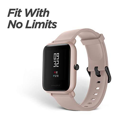 Amazfit Bip Lite Smartwatch Reloj inteligente,Rastreador con monitor cardíaco y de gimnasia,Batería útil de 45 días,Sumergible 3 ATM con Andriod y iOS-Rosa miniatura
