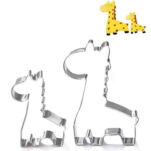 GXHUANG Giraffe Cookie Cutter - 2Pieces - Stainless Steel (Giraffe)