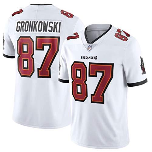Weiyue Camiseta De Fútbol NFL Gronkowski Buccaneers #87, Ropa Deportiva Fútbol Americano, Ropa Casual De Camiseta, Bordado Camisetas De Fans(Size:X-Large,Color:Blanco)