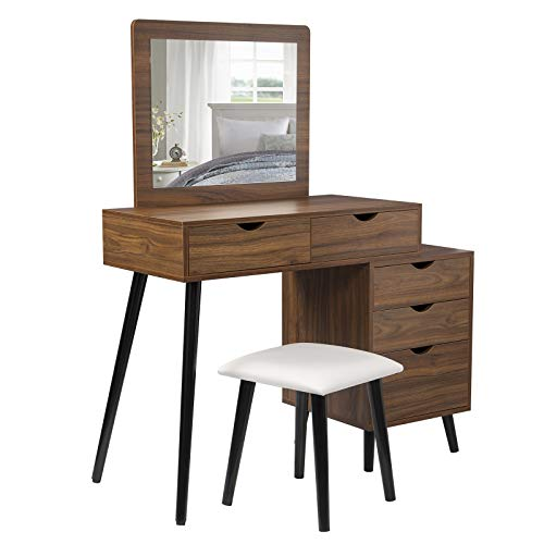 WOLTU Schminktisch mit Hocker und Spiegel, Kosmetiktisch mit 2 Schubladen und Nachttisch Frisierkommode Spiegel Frisiertisch für Schlafzimmer, Dunkelbuche