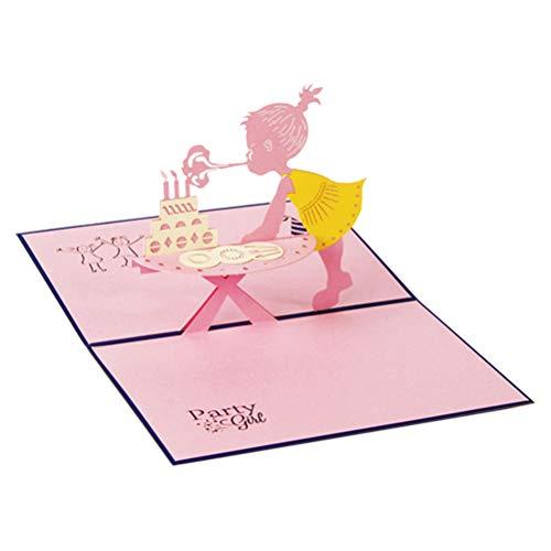 Grußkarten, Einladungsumschläge 3D Pop Up Grußkarte Handgemachte Baby Geburtstagskarte mit Umschlag für Kinder Kleinkinder, Neugeborene Glückwünsche (Mädchen, Geburtstagstorte mit Kerze) SPDYCESS