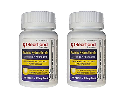 Heartland Pharma Co Meclizine 25mg Travel Sickness and Motion Sickness Medicine (100 Count) (2 Pack)
