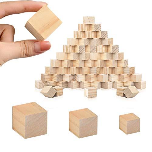 Cuadrados Bloques Madera,CHENKEE 180 piezas 3 tamaños Cubos Madera Natural Pequeños Bloques Madera Cubo Madera Pino para Artesanía Pintar Decoración