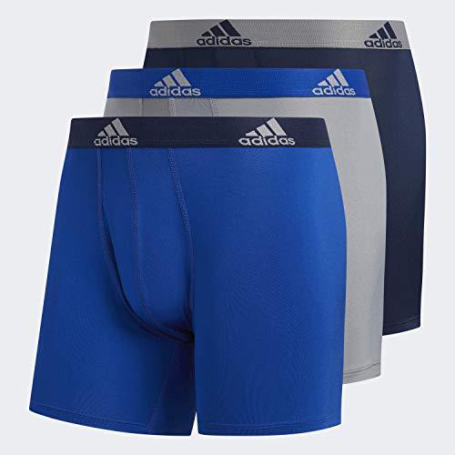 adidas Men's Performance Boxer Briefs Underwear (3-Pack), Collegiate Royal/Collegiate Navy Grey/Collegiate R, Medium