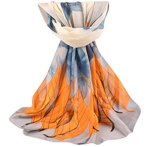 OVERDOSE Mode Frauen Floral Lange Weiche Wrap Schal Damen Schal Chiffon Schals,A-White
