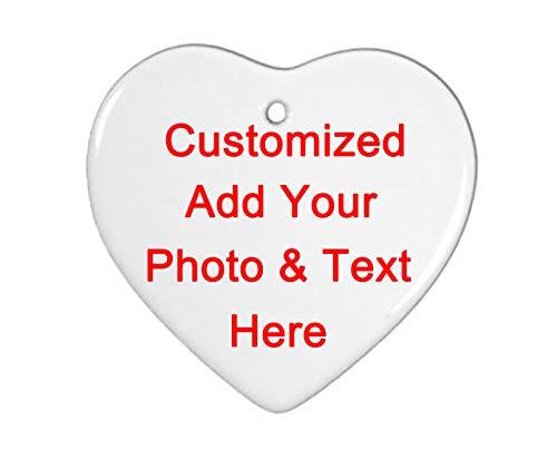 Personalized Custom Handmade Heart-Shaped Ceramic Ornament - Add Photo Logo Text Double-Sided Printing,Christmas Tree Decor-ation Xmas Engagement Wedding Anniversary.