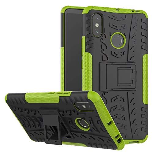 LAGUI Funda Adecuado para Xiaomi Mi MAX 3, Carcasa Viene con Pestaña de Apoyo, Robusta Caja Híbrida TPU/PC de Doble Capa, Resistencia a Las Caídas Golpes y Arañazos. Verde
