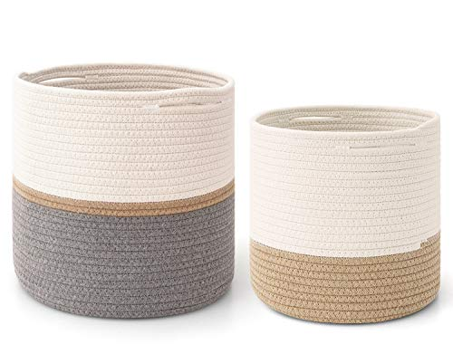 """MoonLa 2-Pack Cotton Rope Plant Basket Woven Indoor Planters for Indoor Plants 