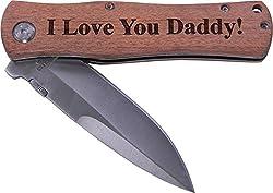 top 10 dad pocket knife I love you, dad! Folding pocket knife with pocket clip – (wooden handle)