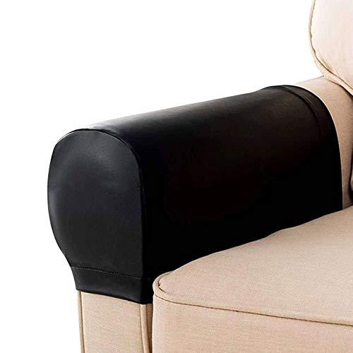 HALOUK PU Leder Armlehnenbezug,Wasserdicht Armkappen Möbelschutz Antirutsch 2er Set Armlehnenschoner für Sessel Sofa-Schwarz