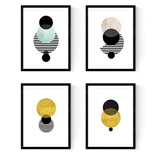 Nacnic Set de 4 láminas para enmarcar Eclipse. Posters Estilo nórdico para la decoración del hogar. Tamaño A4