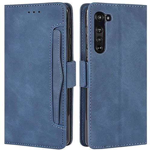 HualuBro Motorola Edge Hülle, Magnetischer R&umschutz, stoßfest, Flip Leder Wallet Hülle Cover mit Kartenschlitzen für Motorola Moto Edge 5G Handyhülle (blau)