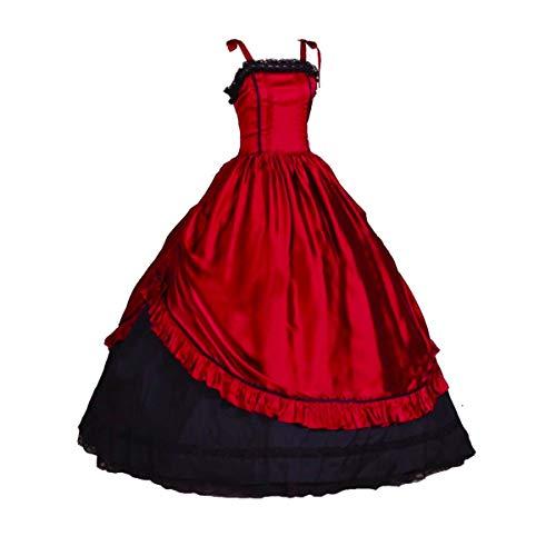 KEMAO Vestido de noche victoriano para mujer, vestido de fiesta de disfraces de baile de fin de curso, vestido de fiesta - Rojo - Large