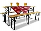ADGO Juego de Cerveza de Madera Juego de Muebles de Jardín Plegable para Patio 180 cm: Mesa + 2 Bancos