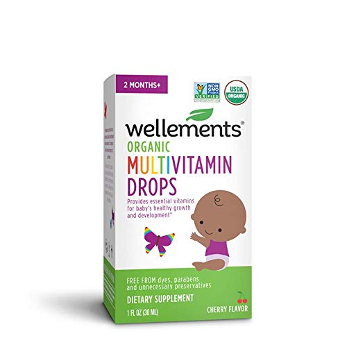 Wellements Organic Multivitamin Drops, 1 Fl Oz, Baby Liquid Vitamin Supplement for Infants and Toddlers, Free from Dyes, Parabens, Preservatives