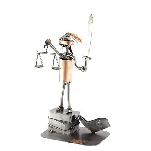 Steelman24 I Schraubenmännchen Justizia Mit Persönlicher Gravur I Made in Germany I Handarbeit I Geschenkidee I Stahlfigur I Metallfigur