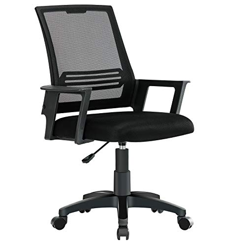 JL Comfurni Desk Chair Ergonomic Office Chair for Home, Mesh Computer Chair,Swivel Chair Height Adjustable, Cheap Racing Gaming Chair Lumbar Support